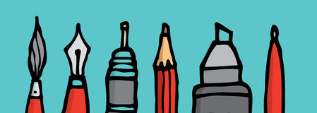 Writing instruments tips. Cartoon illustration of five different writing tips stock illustration