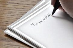 Writing Invitation Card Royalty Free Stock Photo