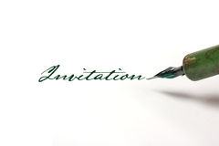 Writing invitation with quill pen Royalty Free Stock Image