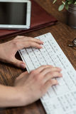 Writing on keyboard Stock Photo