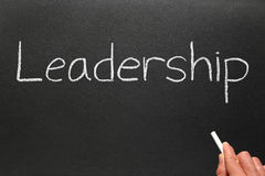 Writing leadership on a blackboard. Royalty Free Stock Image