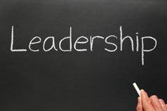 Writing leadership on a blackboard. royalty free stock image