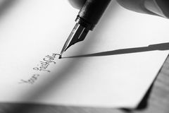 Writing letter fountain pen B Royalty Free Stock Image