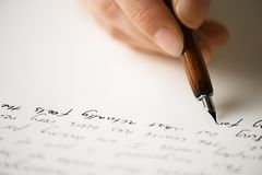 Writing letter to a friend stock image