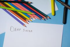writing a letter to Santa stock image