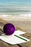 Writing letter to Santa Claus on the Mediterranean Royalty Free Stock Images