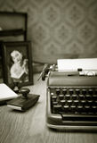 Writing a letter on vintage typewriter Royalty Free Stock Photography