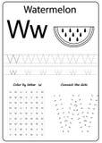 Writing letter W. Worksheet. Writing A-Z, alphabet, exercises game for kids. stock illustration