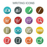 Writing long shadow icons Royalty Free Stock Photo