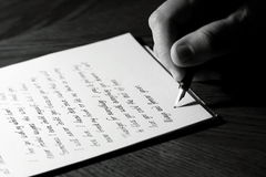 Writing a love letter Royalty Free Stock Images