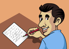 Writing man. Cartoon-style illustration: a smiling man writing a letter with a fountain-pen and paper Stock Images