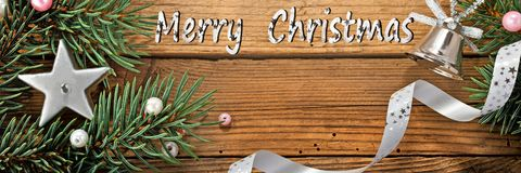 Writing Marry Christmas with Christmas Decoration Royalty Free Stock Images