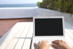 Writing from the mediterranean sea Royalty Free Stock Photo