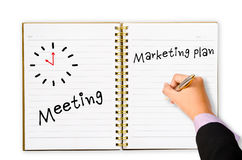 Writing meeting marketing plan Stock Image