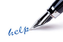 Writing message with black pen : help Stock Photography