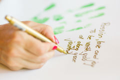 Writing message on paper Royalty Free Stock Image