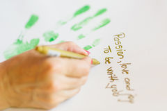 Writing message on paper Royalty Free Stock Photos