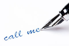 Writing message with pen : call me Royalty Free Stock Photography