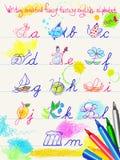 Writing modified funny fantasy english alphabet   Stock Image