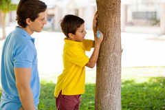 Writing my name on a tree Royalty Free Stock Images