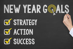 Writing New Year 2017 Goals on Chalkboard. Working Royalty Free Stock Photos