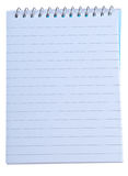 Writing note pad with spiral binding. Isolated over white Royalty Free Stock Photo