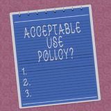 Writing note showing Acceptable Use Policyquestion. Business photo showcasing set of rules applied by the owner of a. Network Lined Spiral Top Color Notepad vector illustration
