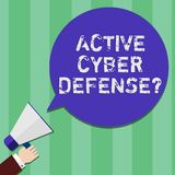 Writing note showing Active Cyber Defensequestion. Business photo showcasing acting in anticipation to oppose an attack. Hu analysis Hand Holding Megaphone stock illustration