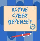 Writing note showing Active Cyber Defensequestion. Business photo showcasing acting in anticipation to oppose an attack. Square Color Board with Magnet Click stock illustration