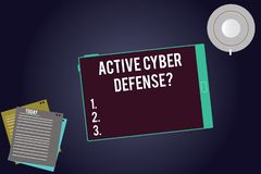 Writing note showing Active Cyber Defensequestion. Business photo showcasing acting in anticipation to oppose an attack. Tablet Screen Cup Saucer and Filler stock illustration