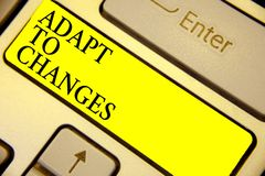 Writing note showing Adapt To Changes. Business photo showcasing Embrace new opportunities Growth Adaptation progress Keyboard yel. Low key Intention computer royalty free stock image