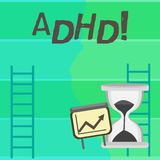 Writing note showing Adhd. Business photo showcasing Learning made easier for children teaching no more a difficult task royalty free illustration