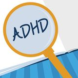 Writing note showing Adhd. Business photo showcasing Mental health disorder of children Hyperactive Trouble paying. Attention vector illustration