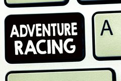 Writing note showing Adventure Racing. Business photo showcasing disciplinary sport involving navigation over unknown course royalty free stock image
