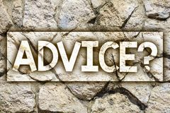 Writing note showing Advice Question. Business photo showcasing Counseling Encouragement Assist Recommend Support Steer Ideas mes. Sage stone stones rock rocks stock images