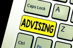 Writing note showing Advising. Business photo showcasing Give advice recommendation assistance professional support.  royalty free stock photo