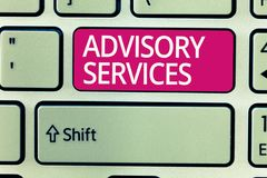 Writing note showing Advisory Services. Business photo showcasing Support actions and overcome weaknesses in specific. Areas stock photo