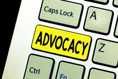 Writing note showing Advocacy. Business photo showcasing Profession of legal advocate Lawyer work Public recommendation.  royalty free stock images