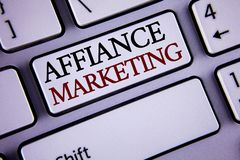 Writing note showing  Affiance Marketing. Business photo showcasing joining two or more companies in same field mutual goal writte. N white keyboard key with Stock Photography