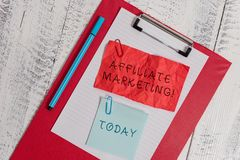Writing note showing Affiliate Marketing. Business photo showcasing Promoting another demonstratings product Earning a. Writing note showing Affiliate Marketing royalty free stock photos