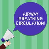Writing note showing Airway Breathing Circulation. Business photo showcasing Memory aid for rescuers performing CPR Hu. Analysis Hand Holding Megaphone Color vector illustration