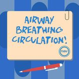 Writing note showing Airway Breathing Circulation. Business photo showcasing Memory aid for rescuers performing CPR. Square Color Board with Magnet Click royalty free illustration