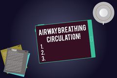 Writing note showing Airway Breathing Circulation. Business photo showcasing Memory aid for rescuers performing CPR. Tablet Screen Cup Saucer and Filler Sheets royalty free illustration