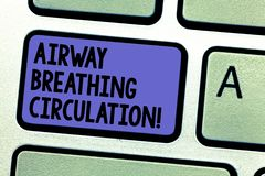 Writing note showing Airway Breathing Circulation. Business photo showcasing Memory aid for rescuers performing CPR. Keyboard key Intention to create computer stock photos