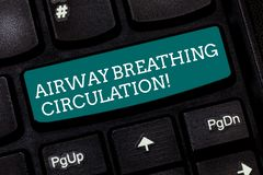 Writing note showing Airway Breathing Circulation. Business photo showcasing Memory aid for rescuers performing CPR. Keyboard key Intention to create computer royalty free stock photo