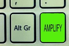 Writing note showing Amplify. Business photo showcasing Make something bigger louder increase the volume using amplifier.  royalty free stock image