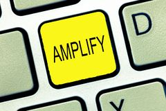 Writing note showing Amplify. Business photo showcasing Make something bigger louder increase the volume using amplifier stock photo