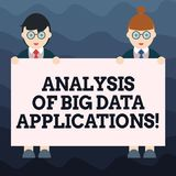Writing note showing Analysis Of Big Data Applications. Business photo showcasing Information technologies modern apps. Male and Female in Uniform Holding royalty free illustration