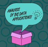 Writing note showing Analysis Of Big Data Applications. Business photo showcasing Information technologies modern apps. Idea icon Inside Blank Halftone Speech royalty free illustration