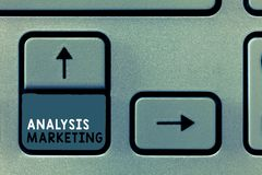 Writing note showing Analysis Marketing. Business photo showcasing Quantitative and qualitative assessment of a market.  stock photography